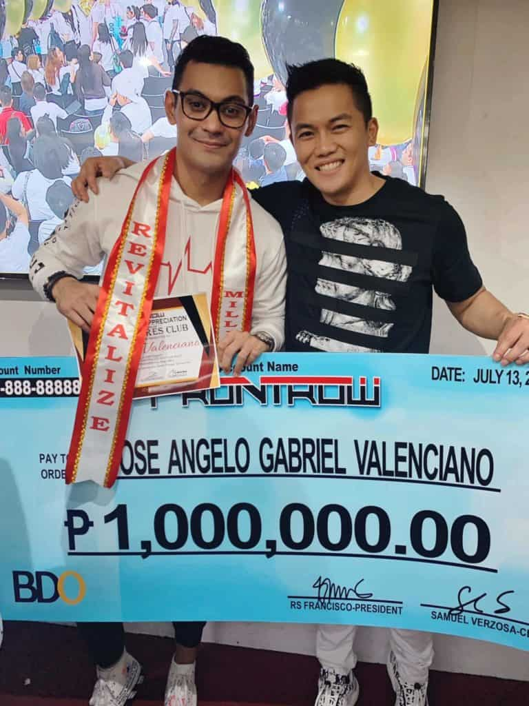 Gabriel Valenciano Earn his 1st 1 Million within 6 Months in Frontrow award with Sam Versoza